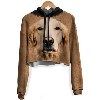 Blusa Cropped Moletom feminina Golden Retriever md01  - P