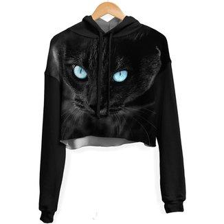 Blusa Cropped Moletom feminina Over Fame Gato Negro