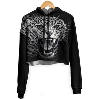 Blusa Cropped Moletom feminina Over Fame Leopardo md01  - P
