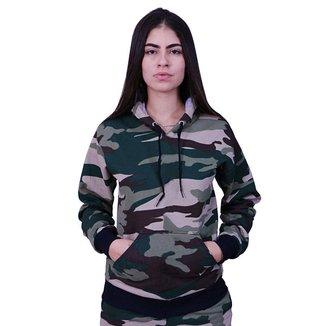 Blusa De Frio Moletom Feminina Com Capuz Camuflada