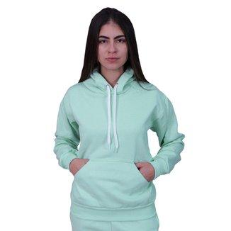 Blusa De Frio Moletom Feminina Com Capuz Verde Agua