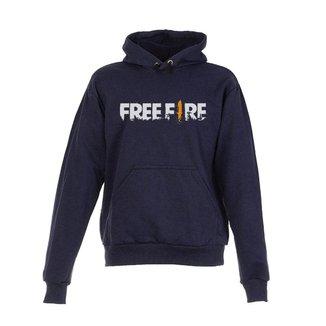 Blusa De Frio Moletom Free Fire Infantil Juvenil Azul Marinho
