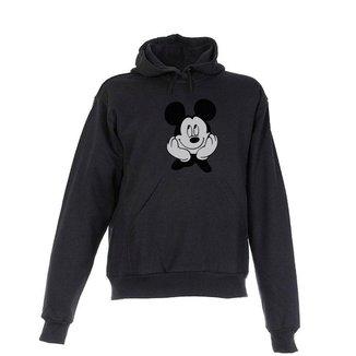 Blusa De Frio Moletom Mickey Infantil Juvenil Preta