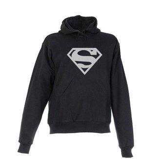 Blusa De Frio Moletom Super Homem Adulta Peluciada Preta