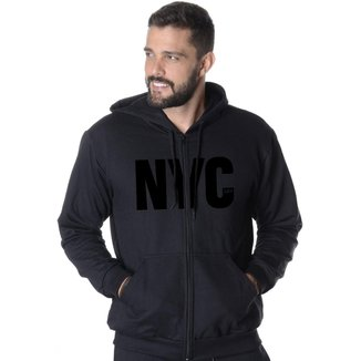 Blusa De Moletom Aberto Estampa New York City Masculina