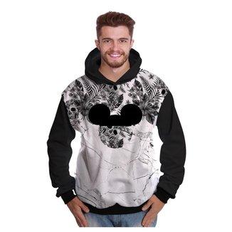 Blusa de Moletom Di Nuevo Floral Caveira Mickey Mouse Masculina