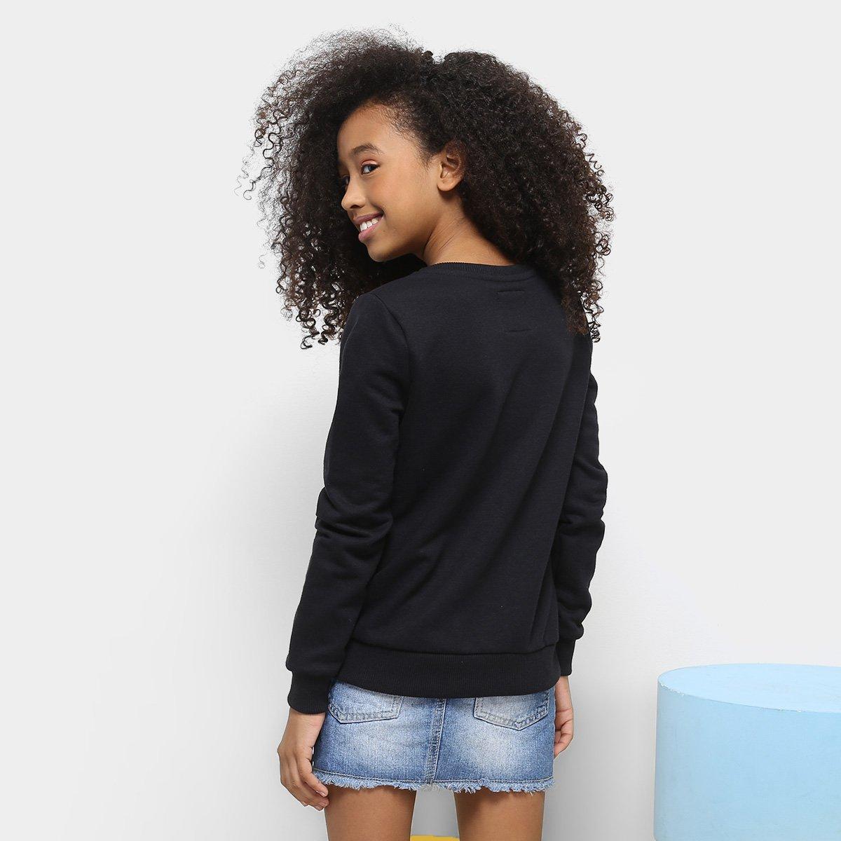 Blusa Blusa Colcci Preto De Infantil Feminina Moletom Estampada De dw5f5qRaxp