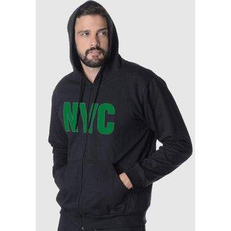 Blusa De Moletom Masculino Aberto Estampa New York City Verde
