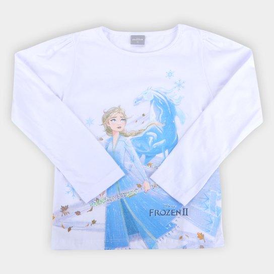 Blusa Disney Frozen By Fakini Manga Longa Feminina - Branco