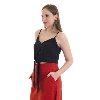 Blusa feminina alcinha com frente amarração Preta