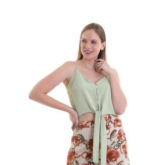 Blusa feminina alcinha com frente amarração Verde