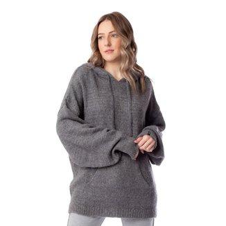 Blusa Feminina Biamar Com Capuz Malharia Cinza Escuro