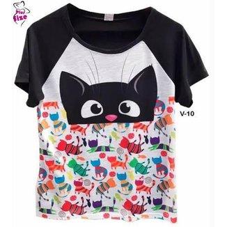 Blusa Feminina Camiseta Raglan Gatinho Estampa Cheia V-10