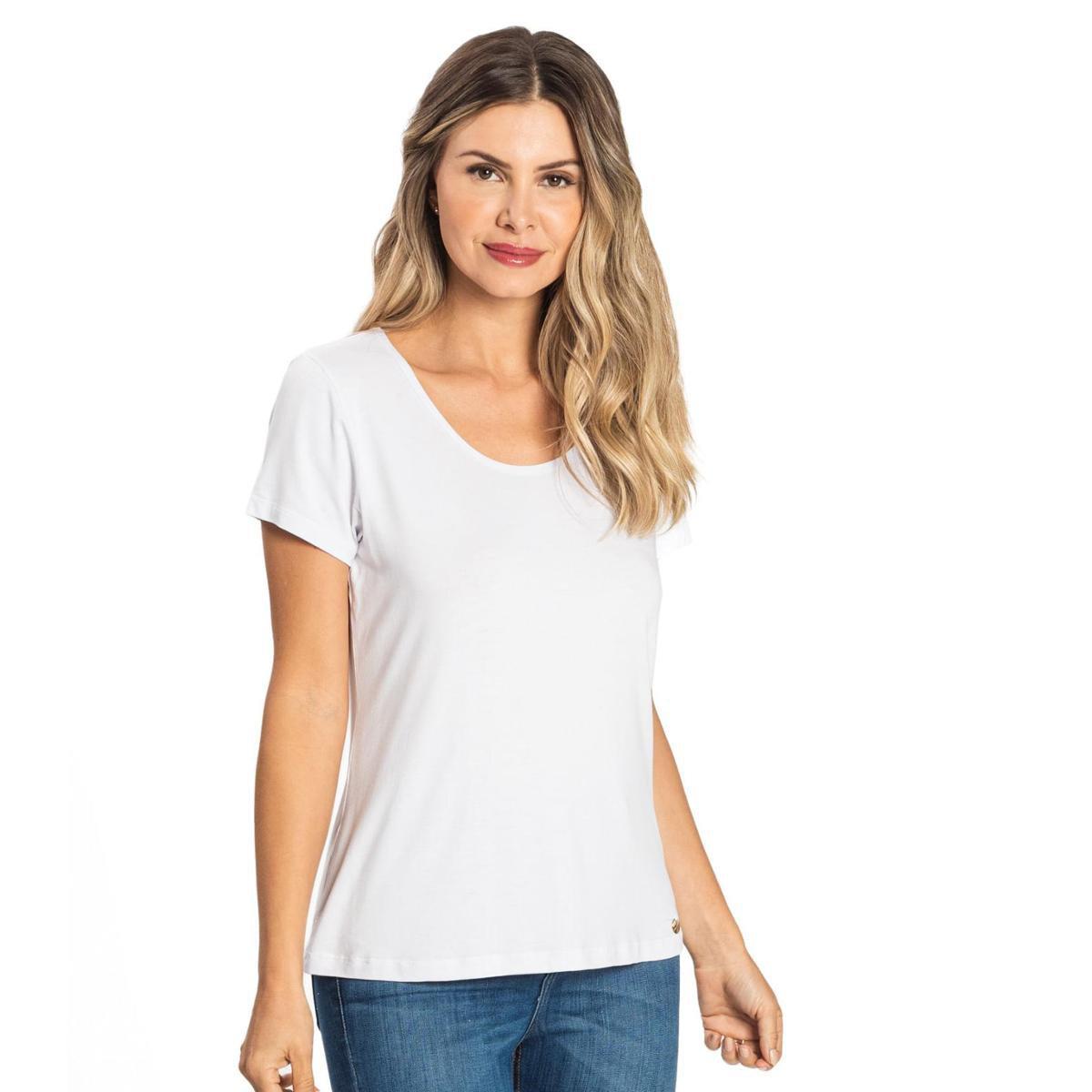 Blusa Feminina Viscotorcion Básica Rovitex - Branco