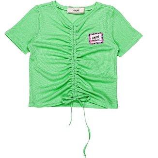 Blusa Infantil Animê  Canelada Verde Menta N1632