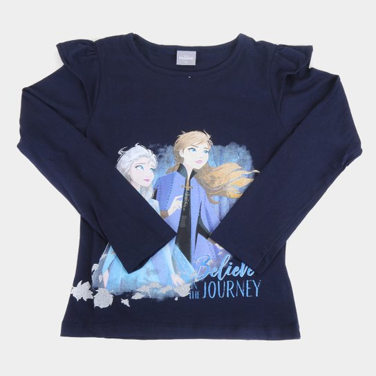 Blusa Infantil Disney Frozen By Fakini Manga Longa Feminina - Marinho