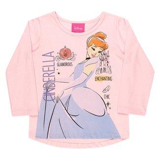 Blusa Infantil Disney Princesas Manga Longa Feminina