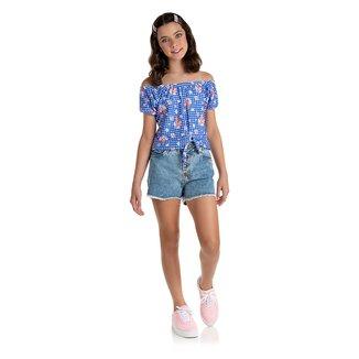 Blusa Infantil Duzizo H-I Crepe Vichy e Florzinhas Feminina