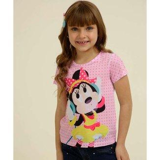 Blusa Infantil Estampa Poá Minnie Disney Tam 4 A 10 - 10047925632