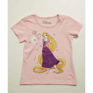 Blusa Infantil Estampa Princesa Rapunzel Disney Tam 4 A 10 - 10046345837