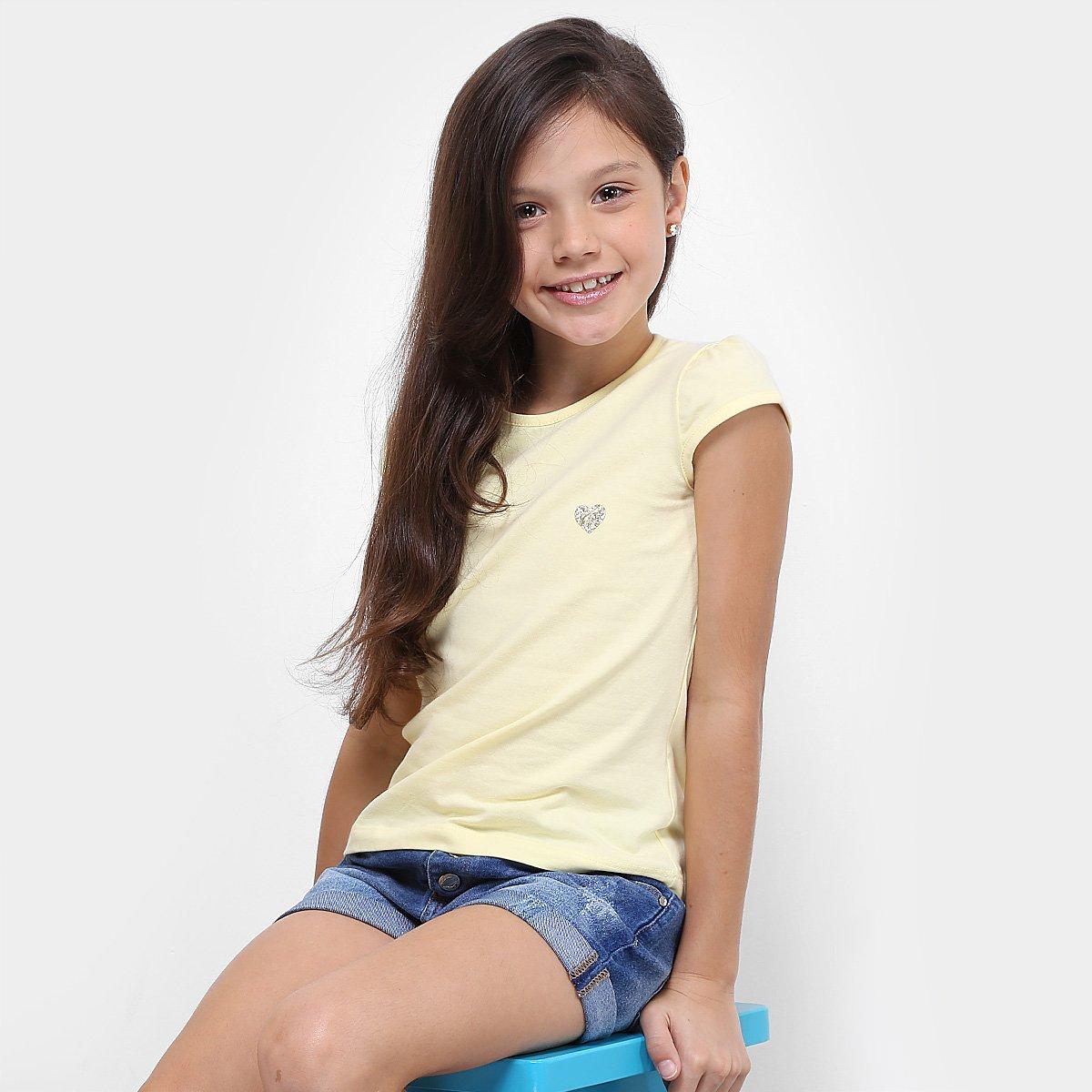 Amarelo Blusa Básica Infantil Feminina Blusa Infantil Kamylus HwHPqY0