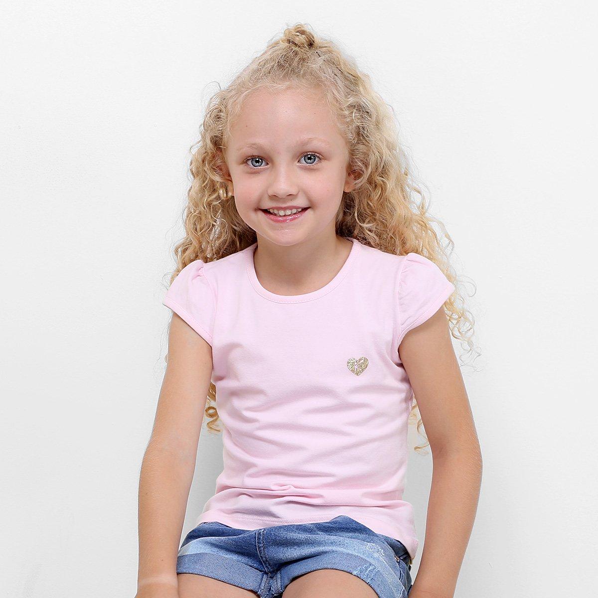 Blusa Blusa Claro Feminina Infantil Kamylus Básica Infantil Rosa 557Tv