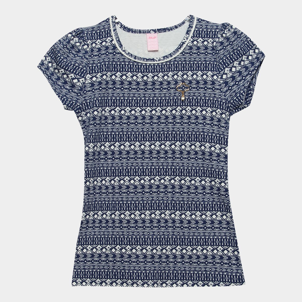 Feminina e Blusa Estampada Infantil Infantil Blusa Azul Branco Ripilica Lilica r8rYvq