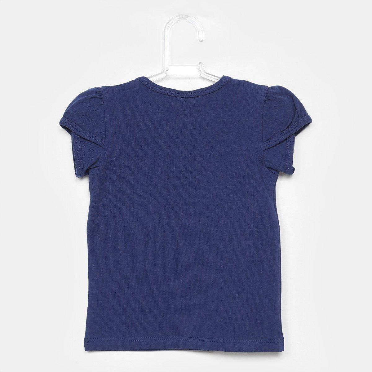 Básica Milon Milon Blusa Blusa Infantil Infantil Básica Feminina Azul XY6tw