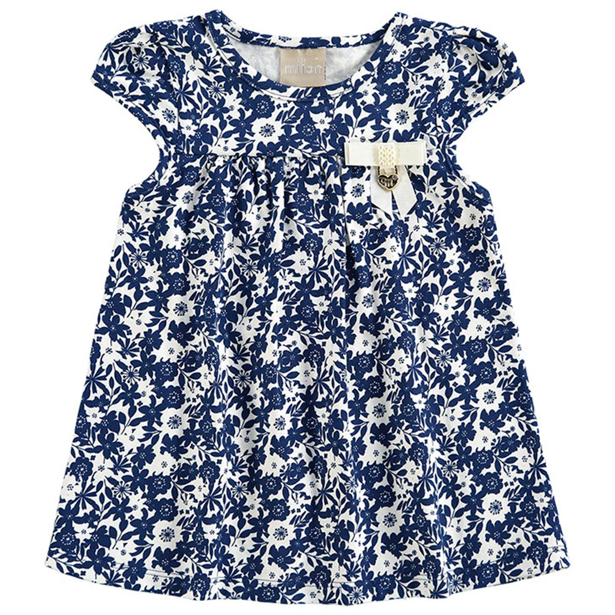 Milon Milon Azul Estampada Feminina Blusa Infantil Blusa Bata Infantil Lacinho 4IvxxZ