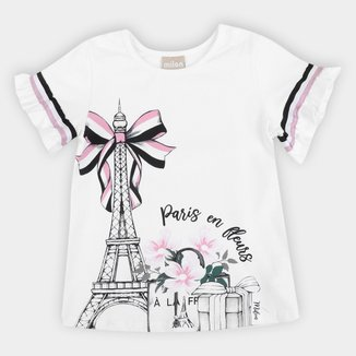 Blusa Infantil Milon Paris Manga Com Babado Feminina