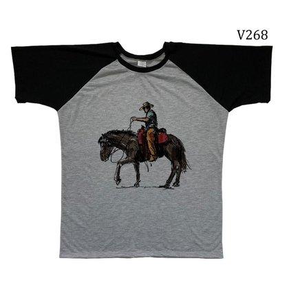 Blusa Infantil Raglan Cowboy Com Cavalo Moda Country V268