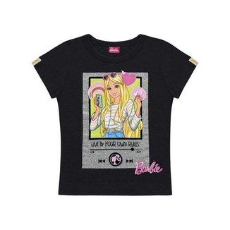 Blusa Infantil Verão, Barbie, Cor preto, Produto Oficial - Fakini