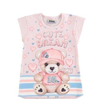 Blusa Infantil Verão, Ursa, Rosa - Kukiê