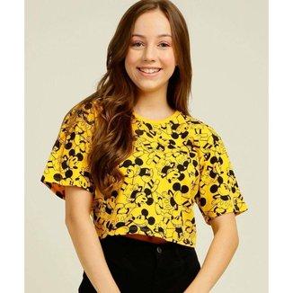 Blusa Juvenil Cropped Estampa Mickey Disney Tam 10 A 16 - 10046421623