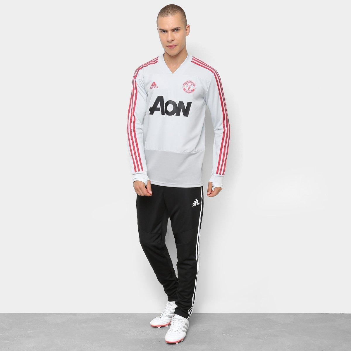 Blusa Manchester United Treino Adidas Masculina - Cinza e Vermelho ... e726d426d6941