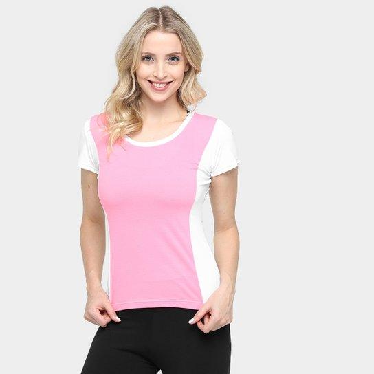 Blusa Memo Manga Curta Recorte Costas Feminina - Rosa+Branco