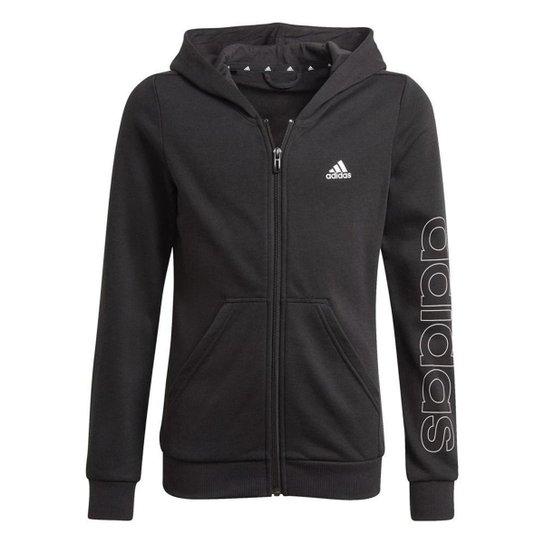 Blusa Moletom Adidas Essentials Infantil - Preto - Preto+Branco