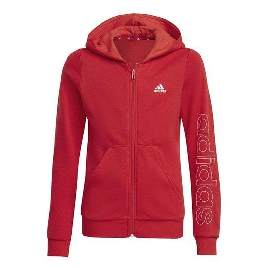 Blusa Moletom Adidas Essentials Infantil - Preto - Vermelho+Branco