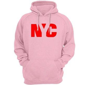 Blusa Moletom Algodao Unissex Estampa nyc New York City Vermelho