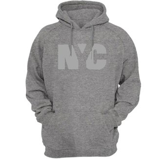 Blusa Moletom Algodão Unissex moleton capuz Estampa NYC Cinza