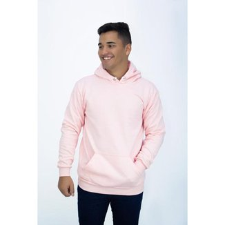 Blusa Moletom Canguru Rosa Masculino Liso DBL