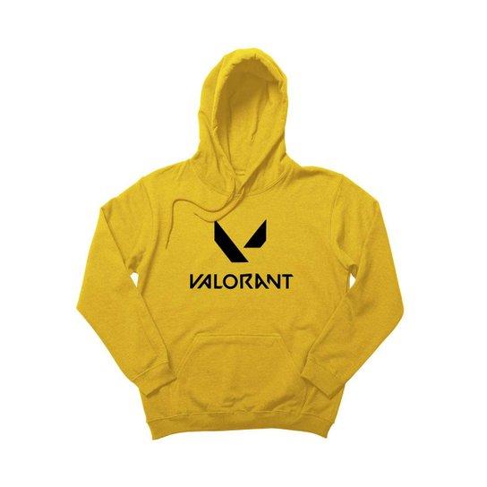 Blusa Moletom Canguru Unissex Estampado com Capuz - Amarelo