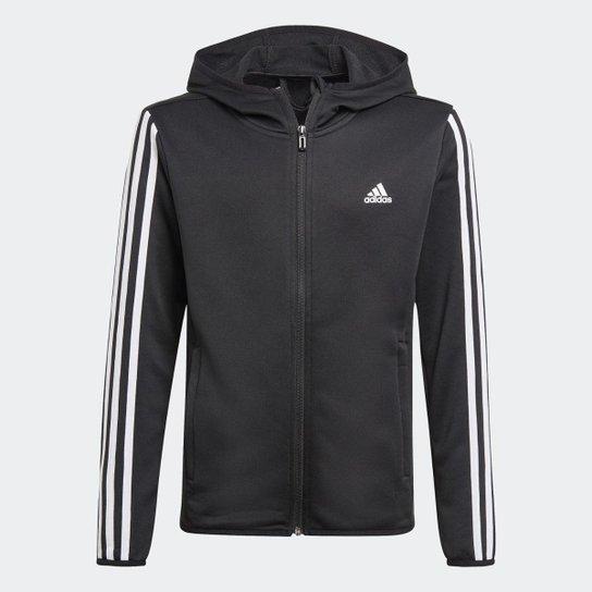 Blusa Moletom Capuz Designed 2 Move 3-Stripes Adidas - Preto