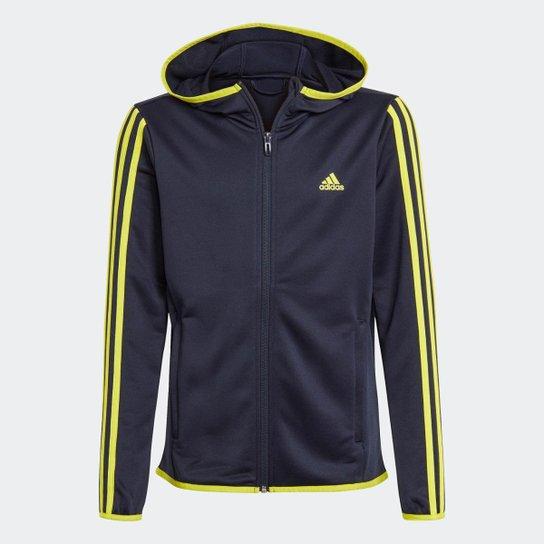 Blusa Moletom Capuz Designed 2 Move 3-Stripes Adidas - Azul