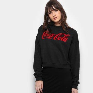 Blusa Moletom Coca-Cola Silk Aveludado Feminina