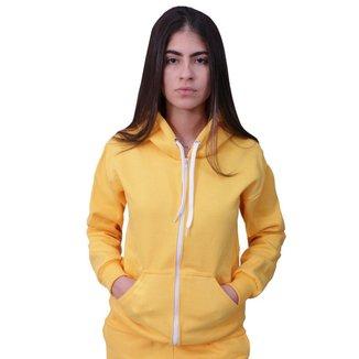 Blusa Moletom Com Ziper Plus Size Amarelo