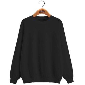 Blusa Moletom de Frio Black Beast Gola Redonda Liso - Rosa Claro - M