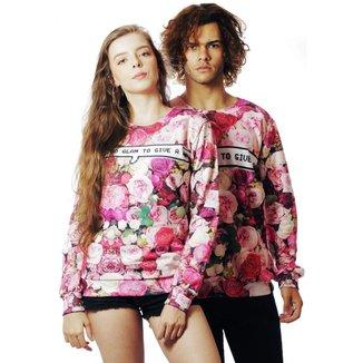 Blusa Moletom Floral Estampado Full Print Too Glam