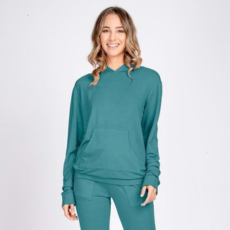 Blusa Moletom Leve Bolso Canguru com Capuz Verde Ultramar