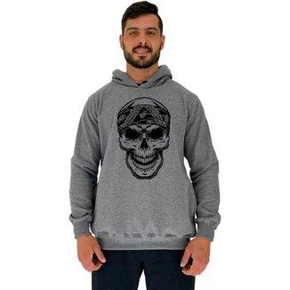 Blusa Moletom MXD Conceito Tradicional Com Touca Caveira Com Bandana Masculina